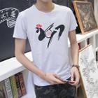 Short-sleeve Cock Printed T-shirt