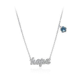 925 Sterling Silver Fashion Letter Hope And Blue Flower Necklace With Austrian Element Crystal Silver - One Size