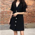 Short-sleeve Buttoned Mini Dress Black - One Size