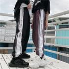 Couple Matching Lettering Striped Cropped Harem Pants