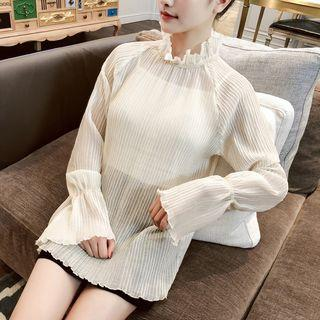 Bell-sleeve Chiffon Top Almond - One Size