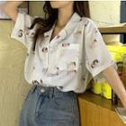Angel Print Short-sleeve Chiffon Shirt