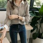 Patterned Collared Long-sleeve Blouse