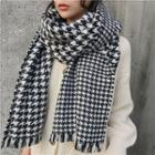 Fringed Houndstooth Scarf Houndstooth - Black & White - One Size
