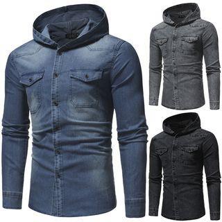 Long-sleeve Hooded Denim Shirt