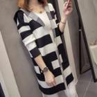 Hooded Striped Open Front Knit Jacket