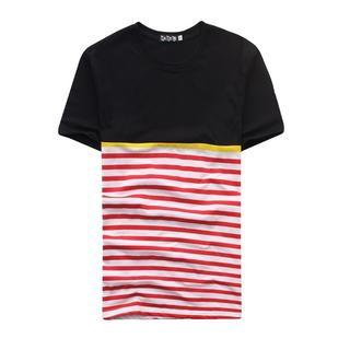 Short-sleeve Striped Panel T-shirt