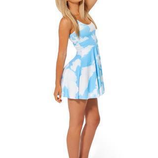 Sky-print Sleeveless Dress Blue - One Size