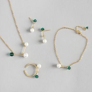 925 Sterling Silver Faux Pearl Rhinestone Ring / Earring / Bracelet / Necklace