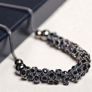 Rhinestone Necklace Black - One Size