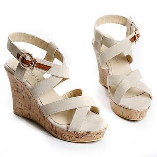 Cross-strap Wedge Sandals