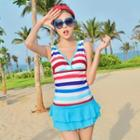 Ruffled Striped Swimsuit