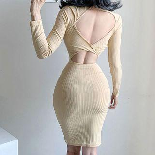 Backless Long-sleeve Mini Sheath Dress
