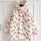 Carrot Print Hooded Coat As Shown In Figure - One Size