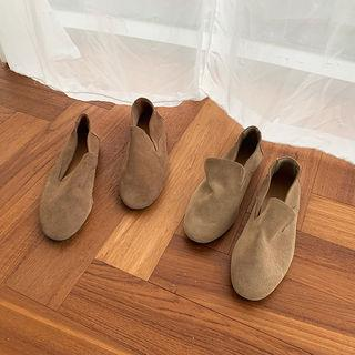 Oval-toe Cowhide Loafers