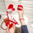 Heart Accent Block Heel Sandals