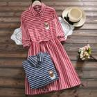 Owl Embroidered Long-sleeve A-line Striped Dress