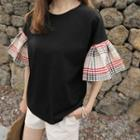 Plaid Tie-back Ruffle-cuff T-shirt