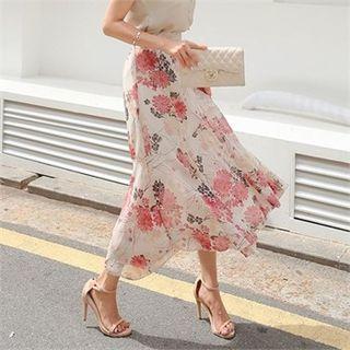 Floral-print Chiffon Long Mermaid Skirt