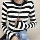 Striped Mock-neck Long-sleeve Knit Top