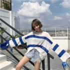 Tied Long-sleeve Striped Top