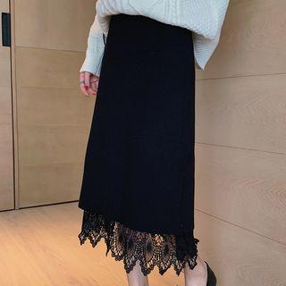 High-waist Reversible Lace Knit Long Skirt