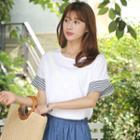Stripe-cuff Lace-trim T-shirt