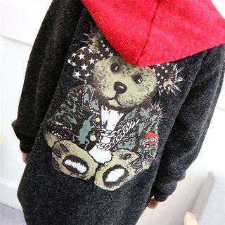 Bear Print Hooded Cardigan