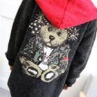 Bear Print Hooded Cardigan