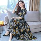 3/4-sleeve Floral Maxi A-line Dress