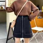 Front-zip A-line Mini Skirt