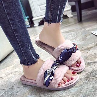 Patterned Bow Accent Furry Slippers