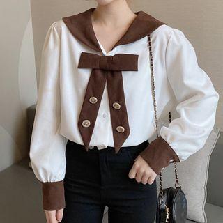 Long-sleeve Contrast Collar Bow Blouse
