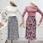 Midi Flower Print Accordion Pleat Skirt