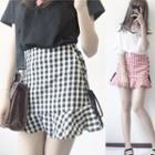 Ruffle Plaid Mini Skirt