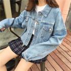 Lettering Denim Jacket Denim Blue - One Size