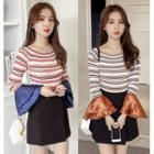 Flared-cuff Striped Long-sleeve Knit Top