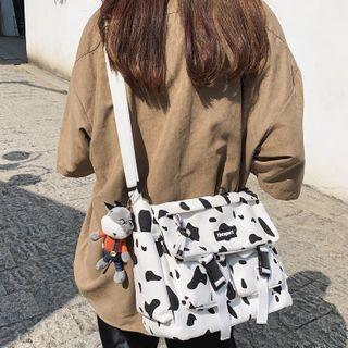 Cow Print Buckled Messenger Bag