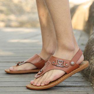 Genuine Leather Slingback Flip-flops