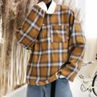 Long-sleeve Plaid Polo Shirt