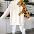 Leopard Print Loose-fit Hooded Pullover