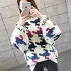 Houndstooth Pattern Oversize Mock Neck Sweater