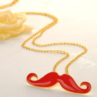 Beard Necklace Red - One Size