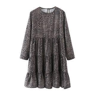 Round-neck Leopard Print Mini Dress