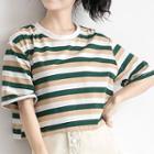Elbow-sleeve Striped Boxy T-shirt