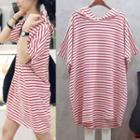 Striped Elbow-sleeve Hooded T-shirt Tunic