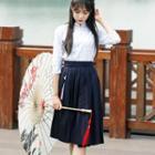 Cosplay Set: Printed Top + Pleated Skirt