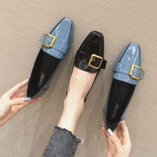 Square-toe Buckle Flat Loafers