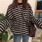 Striped Mock-neck Pullover