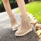 Platform Fringe Short Boots